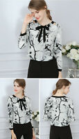 Women Bowknot Collar Chiffon Long Sleeve Formal Shirt Tops Casual Blouse