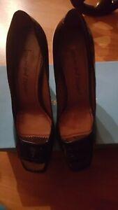 Jean-Michel Cazabat Black Patent Leather Open Toe Pumps Block Heels Shoes Sz 8