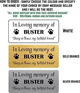 PERSONALISED Metal BENCH PET MEMORIAL PLAQUE DOG / CAT 10X5CM Loving Memories