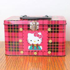 Vintage 1996 Sanrio Hello Kitty Red Metal Tin Lunch Storage Box w/ Handle Plaid