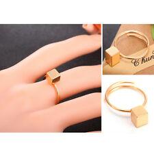 Women 90's Punk Minimalism Cube Openable Adjustable Rings Band Fashion Jewelry