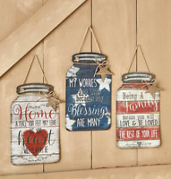 Metal Wall Art Mason Jar Country Hangings Decor Blessings Family Home Gift Ideas