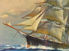 ORIGINAL PRINT FRANK VINING SMITH VINTAGE LITHOGRAPH LITHO SAILING SHIP AT SEA