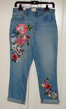 5cea915fa519 Alice Olivia A&o Size 28 Embroidered High Rise Slim Cropped Jeans