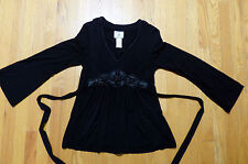 ** ICE ** Sexy Cute Empire Tie Waist Black Rayon and Silk Embellished Top Size L