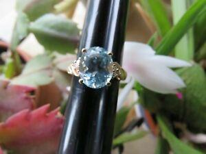 Solid 14K Yellow Gold Big Santa Maria Aquamarine Diamonds Cocktail Ring 7.25 *4g