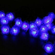 Solar Powered 12M 100 LED Rose Flower Fairy String Lights Xmas Outdoor Decor