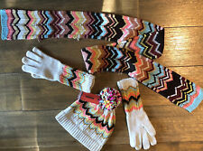 MISSONI FOR TARGET BEANIE HAT M L GLOVES IVORY SIZE M SCARF SHAWL