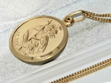 Solid 9ct Yellow Gold on Silver St Christopher Pendant Necklace & 20 inch Chain