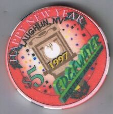 Edgewater Hotel Casino $5.00 Happy New Year 1997 Casino Chip Laughlin Nevada