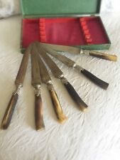 Antique French Cutlery Carved Horn Antler Knives Set