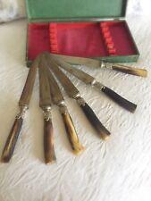 Francés antiguo juego de cubiertos Tallado Cuerno Cornamenta de cuchillos