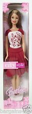 2004 BARBIE CITY STYLE RED KNIT SKIRT & MATCHING RED & WHITE KNIT TOP NRFP