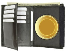 Badge Concealed Carry Holder Wallet Leather ID Credit Card Security Round