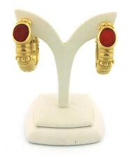 Vintage Vahe Naltchayan Intaglio Carnelian and 18k Yellow Gold Hoop Earrings