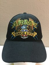 US Army Black Cap , Adjustable Back , Black Hat With Yellow And Green Letters