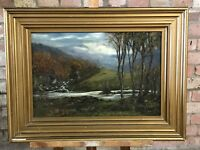 19th Century Oil Painting On Canvas Of A Wooded Scene With A Stream