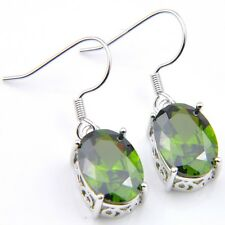 Thanksgiving Gift Elegant Women Peridot Platinum Plated Gems Hook Earrings
