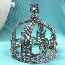 Luxury Crystal Queen King Silver Crown Wedding Bridal Headbands Tiara Prom Gift