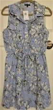 Women's Size Large Bebop Juniors Shirt Dress Blue & White Floral NWT