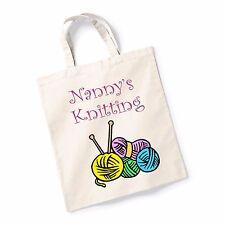 Nanny's Knitting Bag Canvas Tote Shopping Bag Cotton Printed Shopper Bag Gift