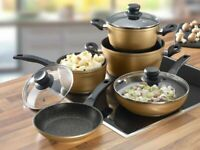 Stoneline Gold Cookware Set 8 Pieces
