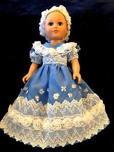 18 inch dolls & American Girl doll VICTORIAN/REGENCY blue taffeta dress/white tr