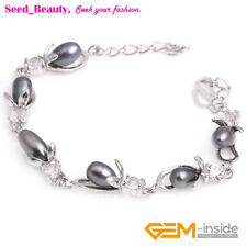 Freshwater Pearl Light Shape White Gold Plated Bracelet Adjustable 6-7mm