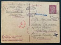 1944 Hannover Germany Labour Camp KZ Stationery Postcard Cover To Italy