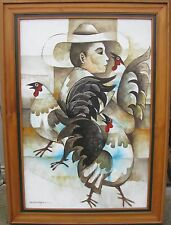 """PACO GOROSPE PHILIPPINES LARGE FRAMED OIL """"GIRL WITH ROOSTERS"""" C 1980"""