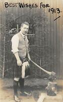 br109092 best wishes for 1913 uk greetings scotland axe real photo social