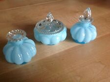 Vintage 3 piece Fenton Silver Crest Blue Dresser Set Cologne/Powder