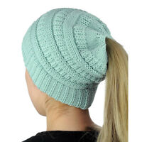 Women Stretch Knitted Beanie Hat Messy High Bun Ponytail Winter Warm Hole Cap