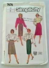 Simplicity Sewing Pattern Pencil Wiggle Skirt Ladies Size 10 Vintage 7676 Uncut