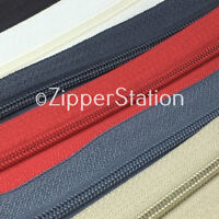 5 meters, SIZE 3, Continuous Zip Zippers, includes 10 Slides. Choice 20 colours