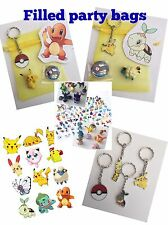 POKEMON party bags, pre filled,mini figure,badge,favours,keyring,sticker 4 items