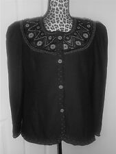 D' Orna New York Black Beaded Lined Evening Puffed Sleeves Jacket Size 12 NWT
