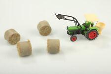 H0 Traktor Gabel Frontlader mit 4 Stroh Rundballen  Staub/Schmutz ohne OVP
