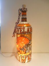 Cleveland Browns Inspired Wine Bottle Lamp Hand Painted Lighted Stained Glass