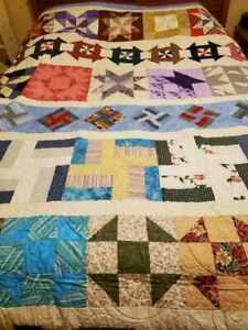 Queen Sampler Machine Sewn Cotton Patchwork Quilt Machine Quilted Star Pinwheels