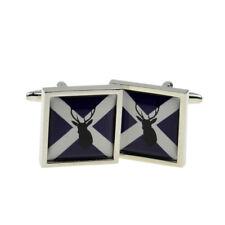 Scottish Saltire Flag with Stag Design Bordered Cufflinks X2BOCSB068