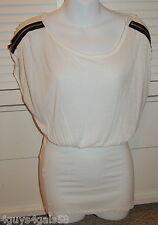 JR Womens Tee Shirt OFF WHITE Zipper Shoulder LONG Tunic XS Banded Bottom