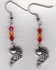 Gold Fish Earrings-Tibetan Silver w/Orange and Yellow Swarovski Beads