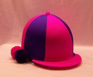 RIDING HAT COVER - FLUORESCENT PINK & PURPLE