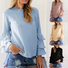 Mujer Verano Azul Manga Larga Informal Blusa Holgado Algodón Suéter Camiseta
