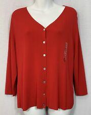 Carolyn Taylor Women's Cardigan Sweater Size XL Red 3/4 Sleeves United Kingdom
