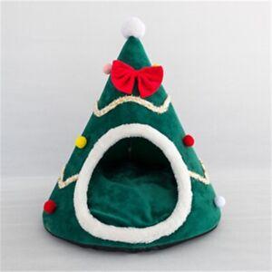 Christmas Pet House Soft Nest Bed Dog Cat Tree Hat Shape Cat House Home Warm