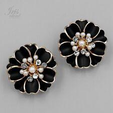 18K Gold Plated GP Pearl Clear Crystal Rhinestone Stud Earrings 362 Black Flower