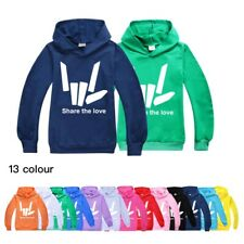 Share the love Hoodies Youth Children Sweatshirt Hooded Pullover Tops Age 3-14