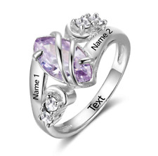 One True Love! Unique Personalised Birthstone Ring 925 Sterling Silver, Gift Box